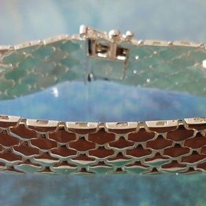 "Jewelry - Sterling Silver 7"" Flexible Thick Scale Bracelet"